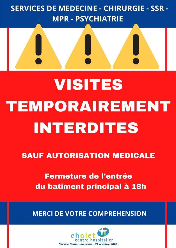 Affiche visite temporairement interdite